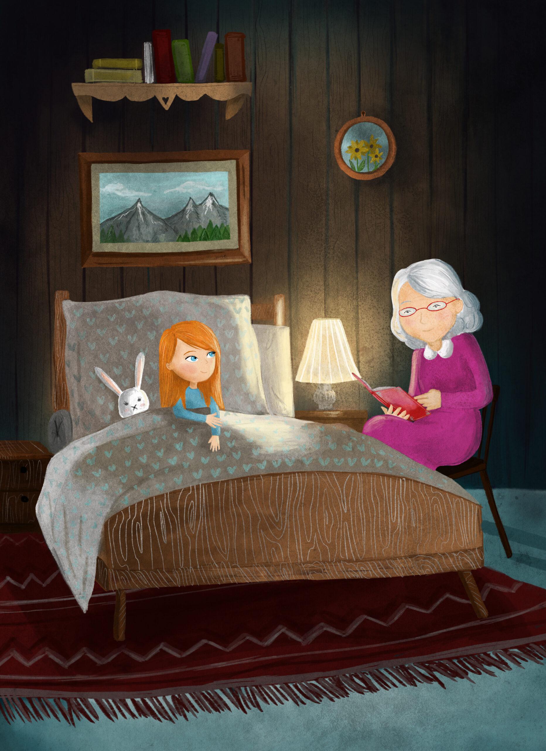 Babička čte pohádku